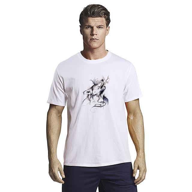Men's Unisex T shirt Hot Stamping Graphic Prints Animal Plus Size Short Sleeve Casual Tops 100% Cotton Fashion White Black Blue