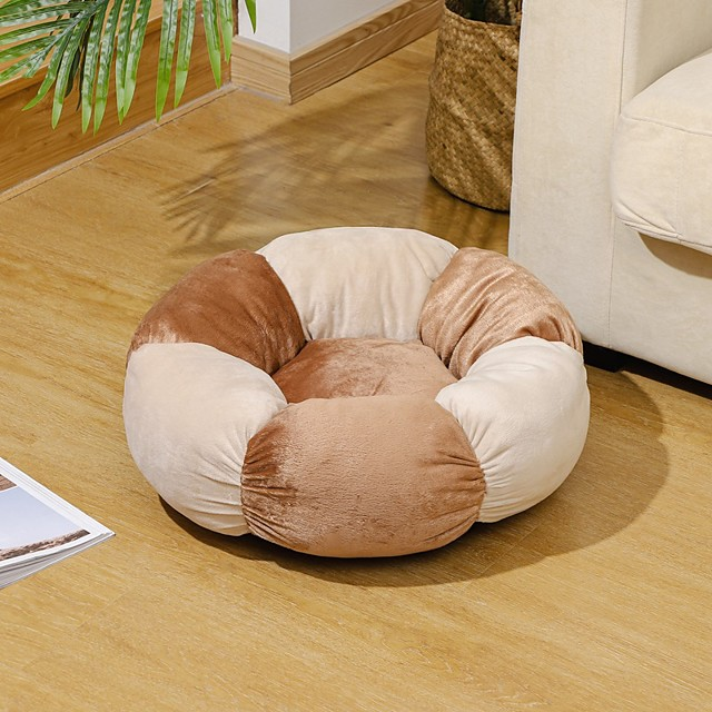 Dog Cat Dog Beds Cat Beds Dog Bed Mat Round Shape Warm Multi layer Soft Elastic For Indoor Use Plush Fabric for Large Medium Small Dogs and Cats