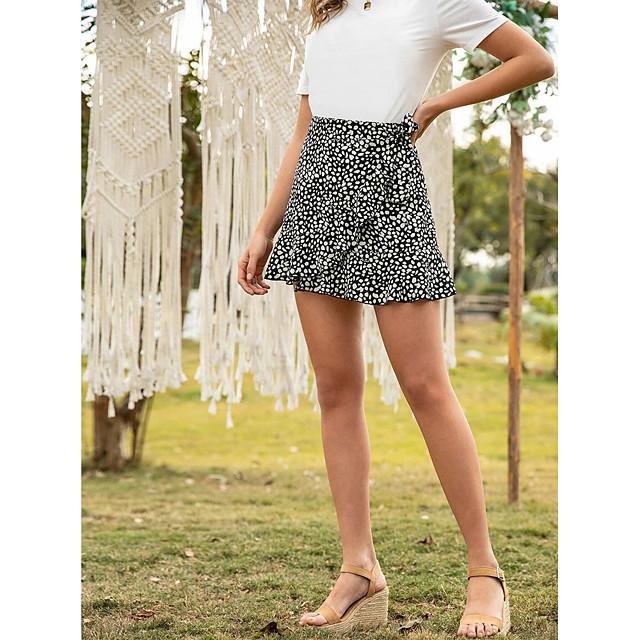 Women's Date Vacation Streetwear Skirts Graphic Ruffle Print Black