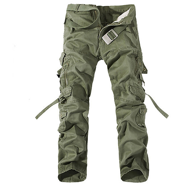Men's Cargo Casual / Sporty Daily Holiday Pants Tactical Cargo Pants Solid Colored Full Length Zipper Pocket Grass Green Earth green Black Yellow Grey
