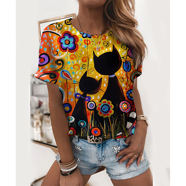 Women's T shirt Cat Graphic 3D Print Round Neck Tops Basic Basic Top Yellow