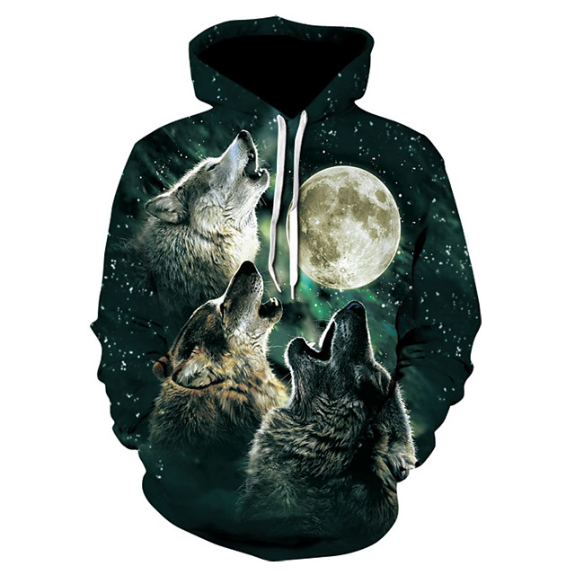 Men's Pullover Hoodie Sweatshirt 3D Print 3D Print 3D Print Hoodies Sweatshirts  Light Green