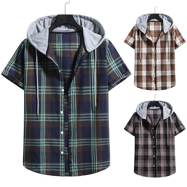 Men's Shirt non-printing Lattice Color Block Plus Size Drawstring Short Sleeve Daily Tops Vintage Streetwear Green Gray Coffee