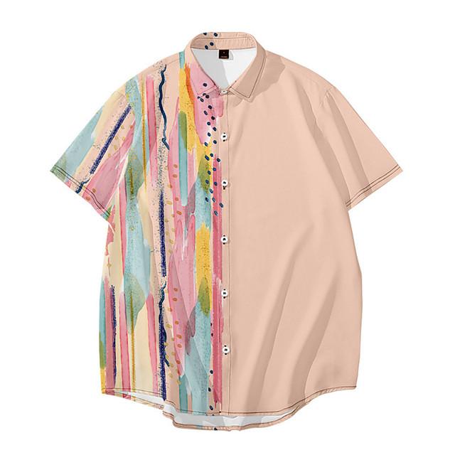 رجالي قميص طباعة ثلاثية الأبعاد ألوان متناوبة زر أسفل طباعة ثلاثية الأبعاد كم قصير مناسب للبس اليومي قمم كاجوال موضة أزرق أصفر وردي بلاشيهغ