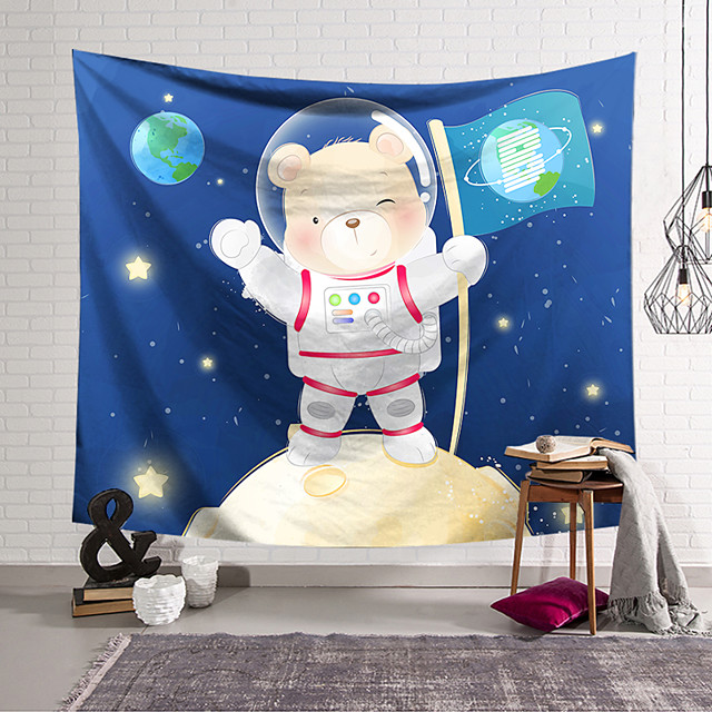 Wall Tapestry Art Decor Blanket Curtain Hanging Home Bedroom Living Room Decoration Polyester Space Bear