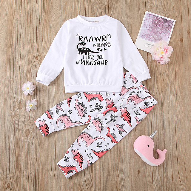 Kids Girls' Clothing Set Daily Wear Dinosaur Cartoon Letter Patchwork Print Long Sleeve Active Regular White
