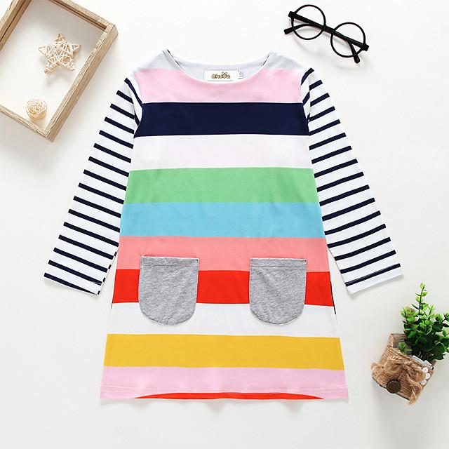 Kids Little Girls' Dress Striped Blushing Pink Knee-length Long Sleeve Cute Dresses Regular Fit