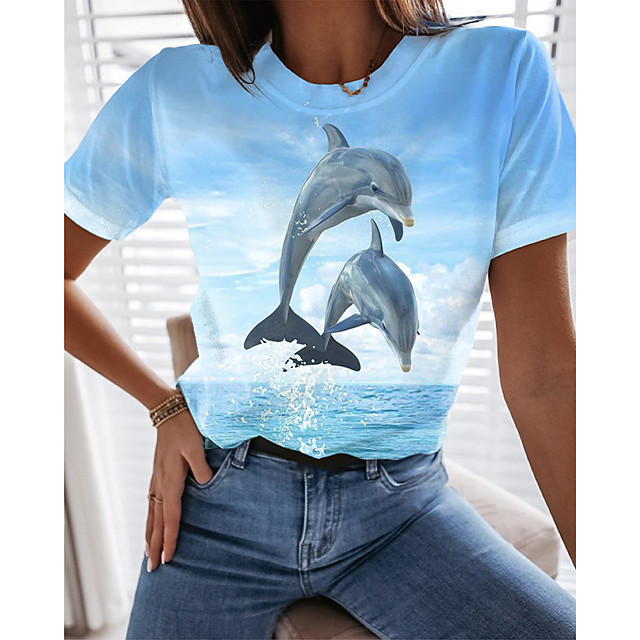 Women's T shirt Graphic 3D Print Round Neck Tops Basic Beach Basic Top Blue