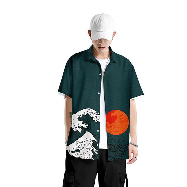 Men's Shirt 3D Print Scenery Button-Down 3D Print Short Sleeve Daily Tops Casual Fashion Hawaiian Black Blue Red