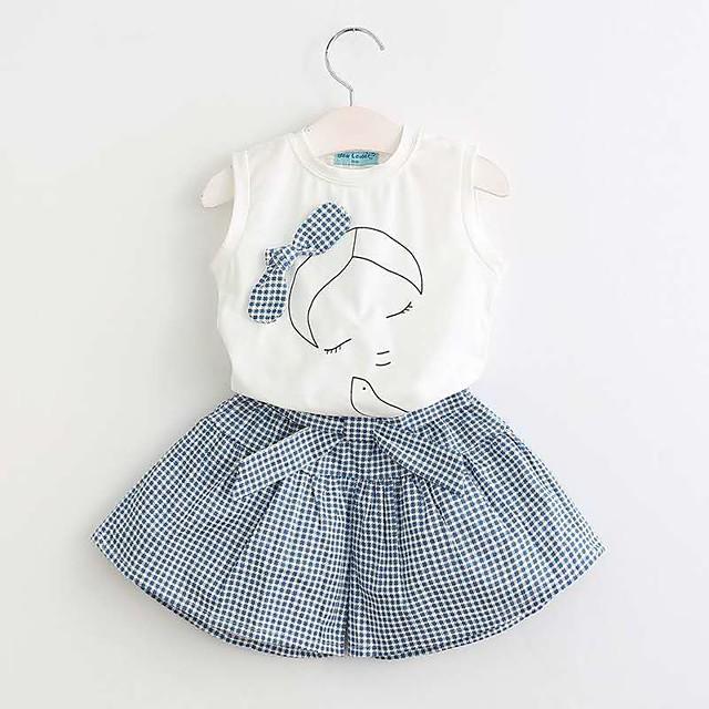 أطفال للفتيات مجموعة ملابس مناسب للبس اليومي الرسم طباعة بدون كم نشيط أساسي عادية أبيض