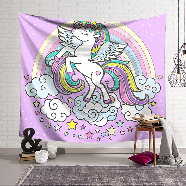 Wall Tapestry Art Decor Blanket Curtain Hanging Home Bedroom Living Room Decoration Polyester Fan Unicorn Raises Its Feet