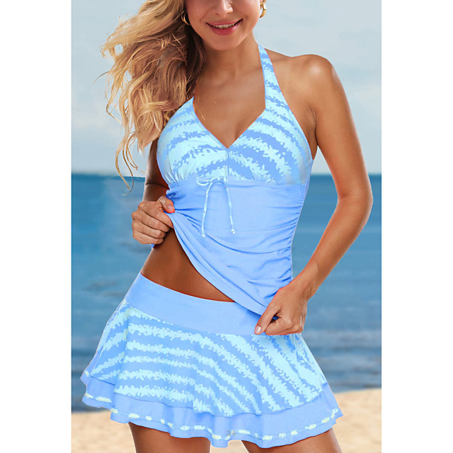 Women's Tankini with Shorts / Top 2 Piece Swimsuit Lace up Print Stripe Blue Red Green Swimwear Halter Padded Bathing Suits New Cute