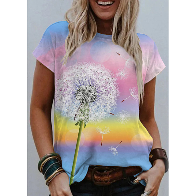 Women's T shirt Graphic Scenery Dandelion Print Round Neck Tops Basic Basic Top Light Blue