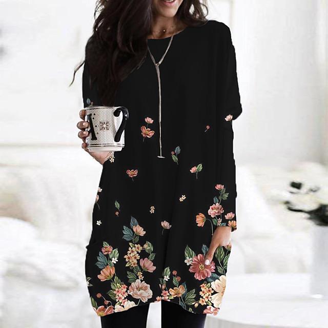 نسائي فستان تيشيرت فستان ميني أسود أزرق كم طويل طباعة ألوان متناوبة حيوان طباعة الخريف الربيع رقبة دائرية كاجوال 2021 S M L XL XXL 3XL