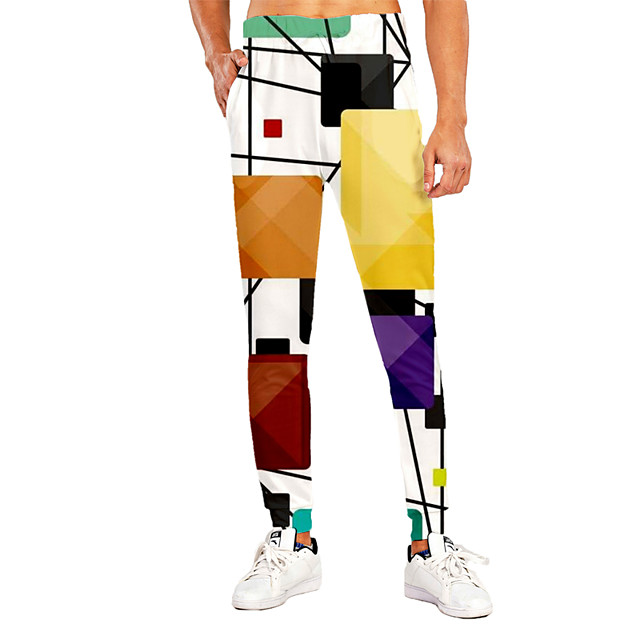 Men's Sporty Casual / Sporty Breathable Quick Dry Sports Casual Holiday Pants Sweatpants Pants Patchwork Graphic Prints Full Length Print White