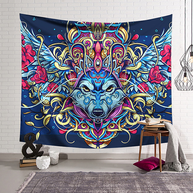 Wall Tapestry Art Decor Blanket Curtain Hanging Home Bedroom Living Room Decoration Polyester Wolf Head Eagle Helmet
