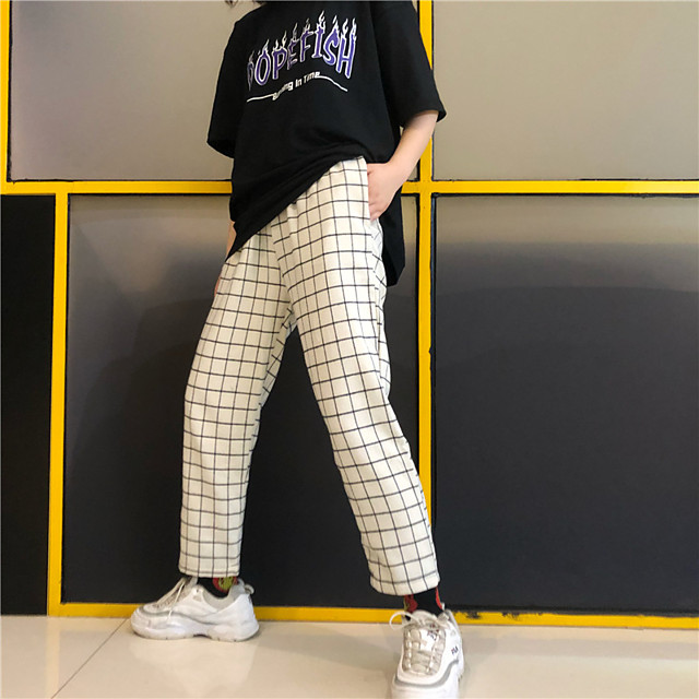 Women's Casual / Sporty Streetwear Comfort Sports Casual Daily Chinos Pants Grid / Plaid Ankle-Length Print White Black Red Wine Dark Gray