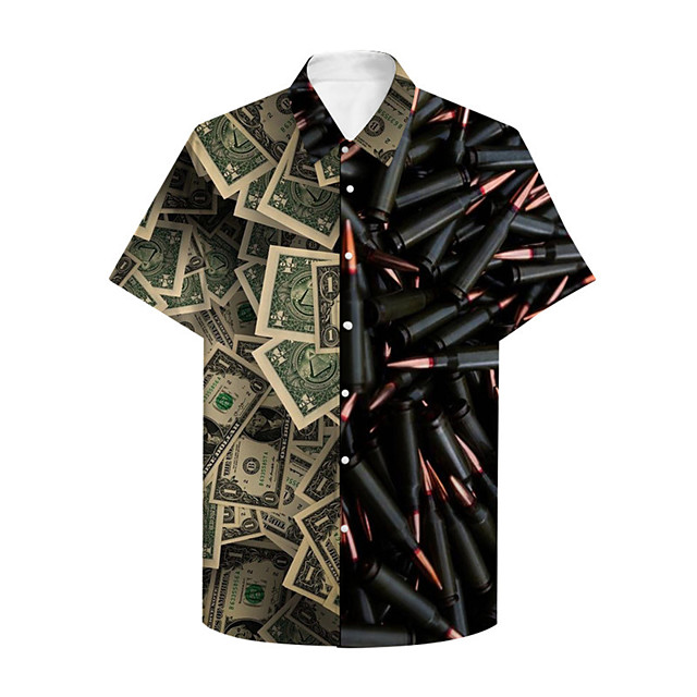 Men's Shirt 3D Print Graphic 3D Button-Down 3D Print Short Sleeve Casual Tops Casual Fashion Black