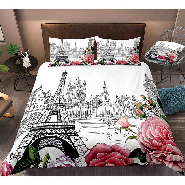 Eiffel Tower 3-Piece Duvet Cover Set Hotel Bedding Sets Comforter Cover with Soft Lightweight Microfiber, Include 1 Duvet Cover, 2 Pillowcases for Double/Queen/King(1 Pillowcase for Twin/Single)