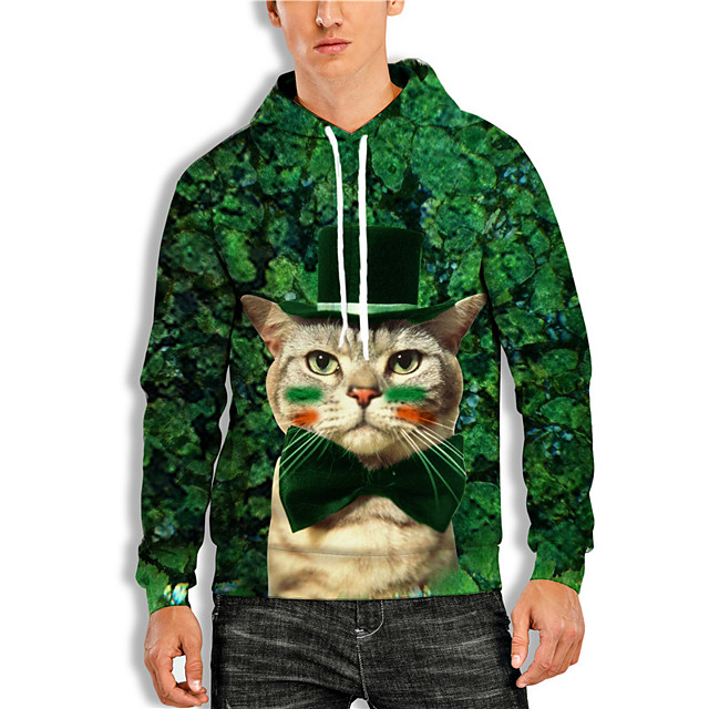 Men's Pullover Hoodie Sweatshirt Cat Graphic Prints Saint Patrick Day Print Daily Holiday 3D Print 3D Print Hoodies Sweatshirts  Green
