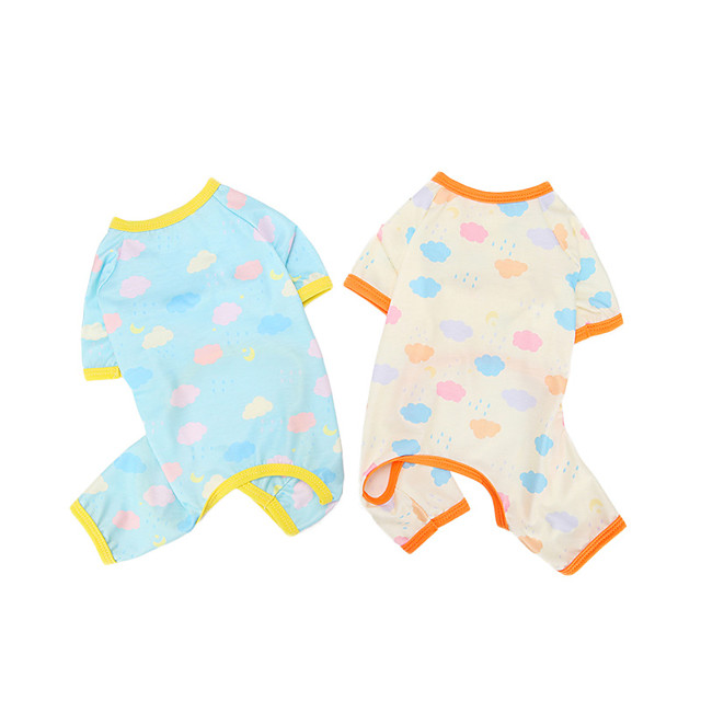 Dog Cat Jumpsuit Pajamas Clouds Elegant Adorable Cute Dailywear Casual / Daily Dog Clothes Puppy Clothes Dog Outfits Breathable Yellow Blue Costume for Girl and Boy Dog Polyester S M L XL XXL