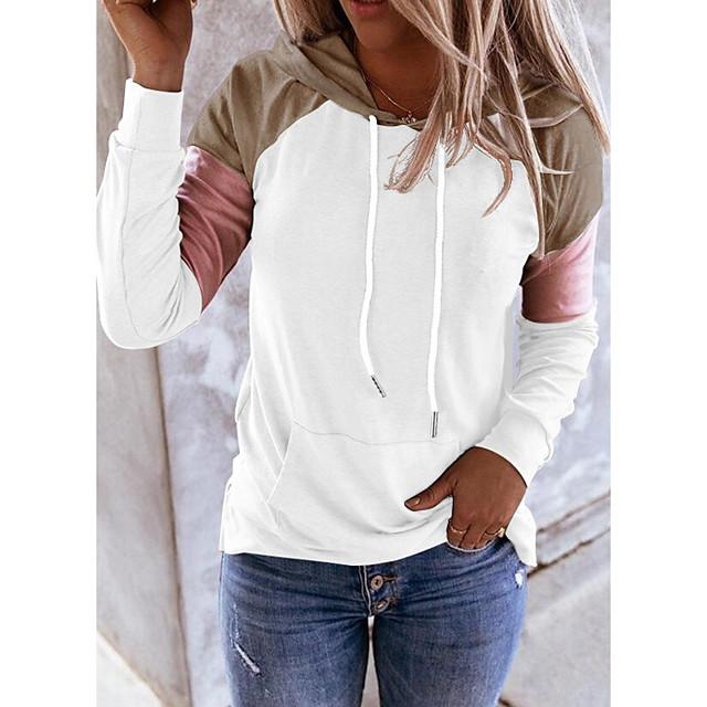 Women's Pullover Hoodie Sweatshirt Color Block Daily Weekend Casual Cute Hoodies Sweatshirts  White Black Blue