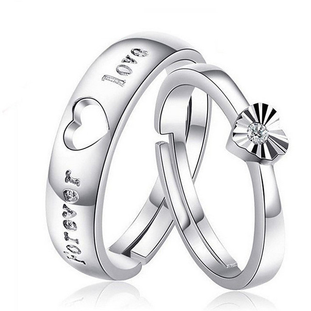 Couple Rings Synthetic Diamond Solitaire Silver S925 Sterling Silver Love Precious Elegant Fashion 1 Pair Adjustable / Couple's / Adjustable Ring