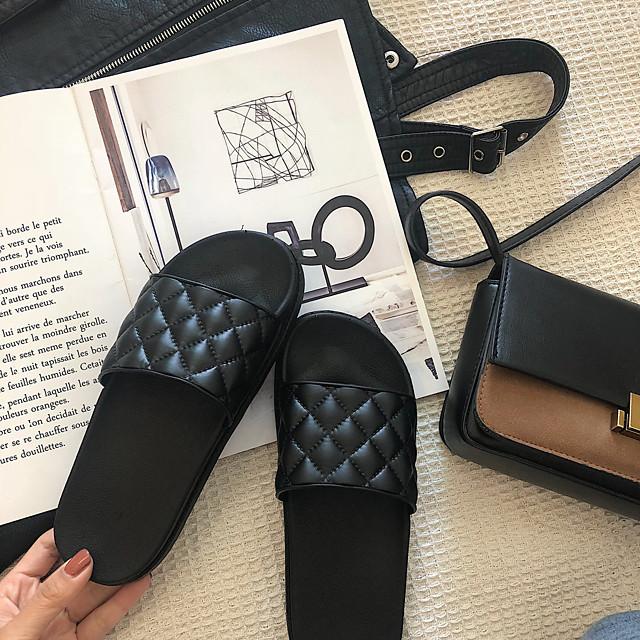 نسائي النعال ومتخاذلا يتخبط كعب مسطخ أمام الحذاء على شكل دائري كاجوال المنزل المشي PVC لون سادة أسود