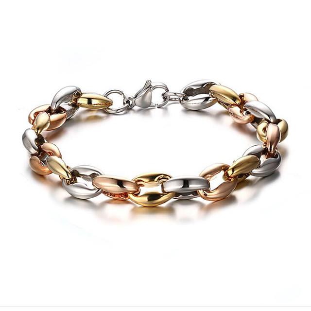 Men's Chain Bracelet Classic Flower Stylish Titanium Steel Bracelet Jewelry Gold For Anniversary Gift Date Festival