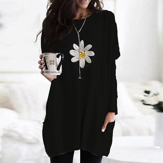 Women's T Shirt Dress Tee Dress Short Mini Dress Black Yellow Beige Long Sleeve Floral Print Color Block Print Fall Spring Round Neck Casual 2021 S M L XL XXL 3XL