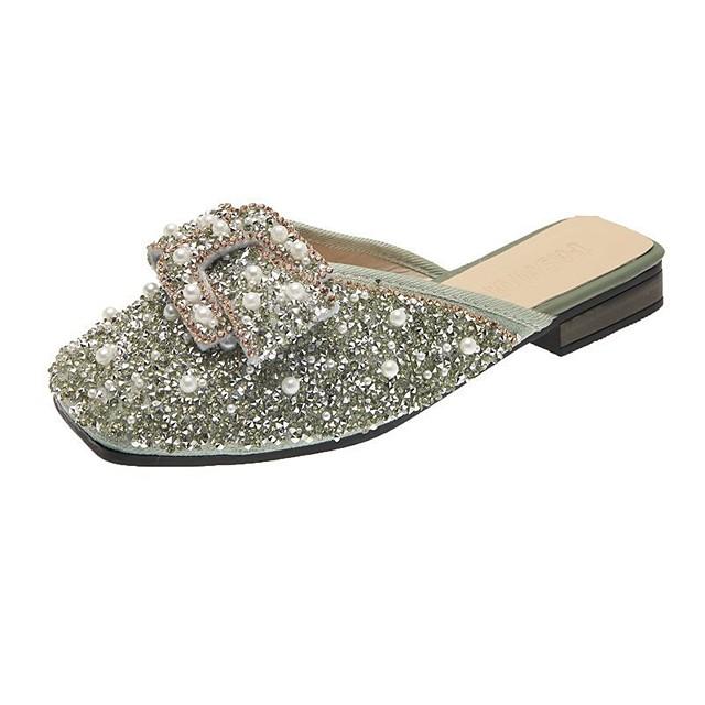 Women's Sandals Flat Heel Square Toe Block Heel Sandals Casual Sweet Daily Walking Shoes Canvas Black Pink Green