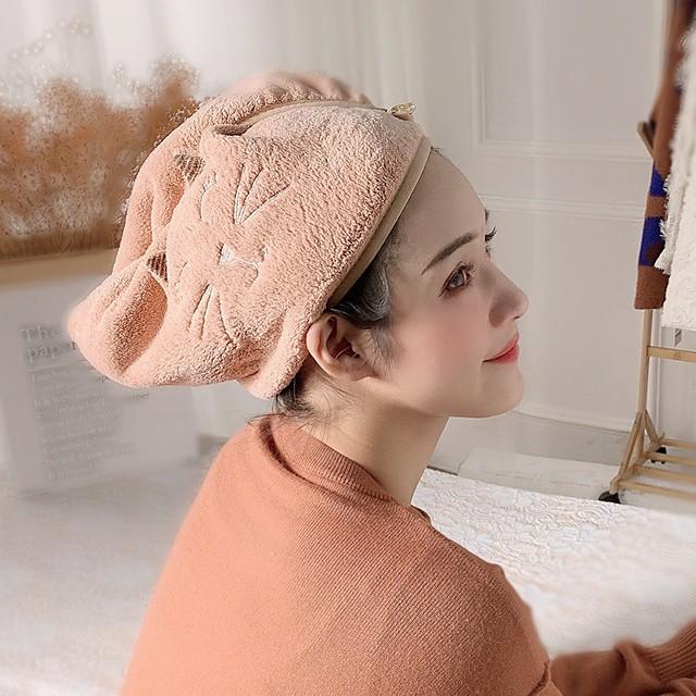 Coral Fleece Hair Towel Wrap Dry Hair Hat Bath Hair Cap Hair Drying Towel with Button