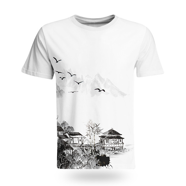 Men's T shirt 3D Print Graphic Graphic Prints Landscape 3D Print Short Sleeve Daily Tops Chinese Style Casual Black / White