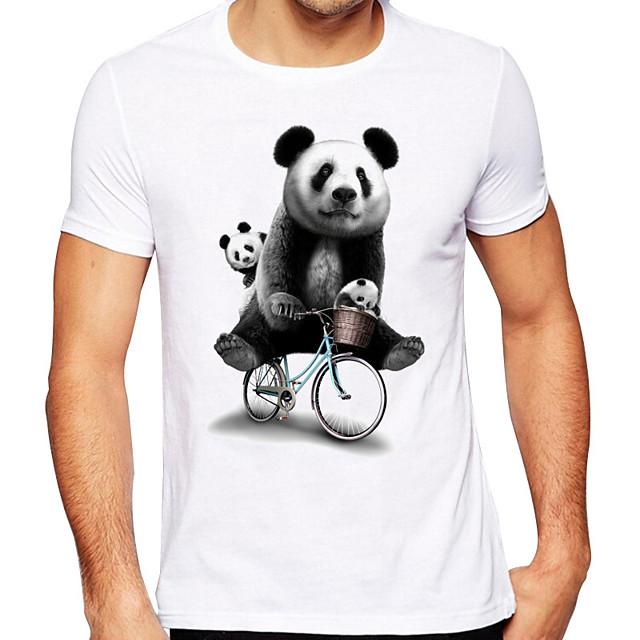 Men's Unisex T shirt Hot Stamping Panda Animal Plus Size Print Short Sleeve Daily Tops 100% Cotton Basic Casual White
