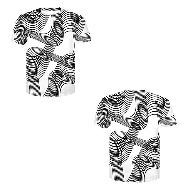 Men's T shirt 3D Print 3D Rivet Mesh Short Sleeve Casual Tops Black / White
