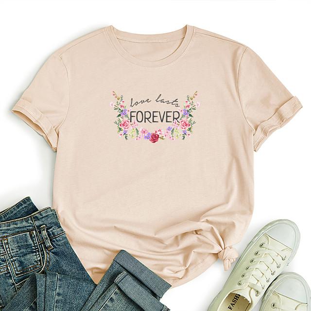 Women's T shirt Graphic Flower Letter Print Round Neck Tops 100% Cotton Basic Basic Top White Black Blue