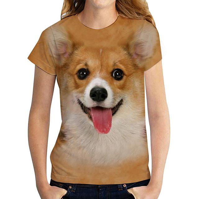 Women's T shirt Dog Graphic 3D Print Round Neck Tops Basic Basic Top Yellow