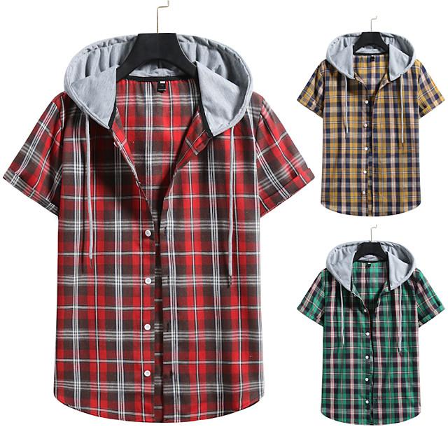 رجالي قميص غير الطباعة شعرية ألوان متناوبة قياس كبير رباط كم قصير مناسب للبس اليومي قمم عتيق أناقة الشارع أحمر أصفر أخضر
