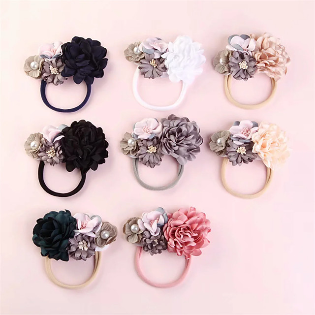 1pcs Infant Girls' Active / Sweet Floral Floral Style Nylon Hair Accessories White / Blushing Pink / Light Brown One-Size