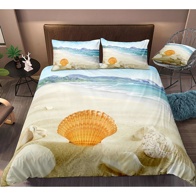 Shell Print 3-Piece Duvet Cover Set Hotel Bedding Sets Comforter Cover with Soft Lightweight Microfiber, Include 1 Duvet Cover, 2 Pillowcases for Double/Queen/King(1 Pillowcase for Twin/Single)