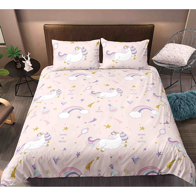 Cartoon Unicorn 3-Piece Duvet Cover Set Hotel Bedding Sets Comforter Cover with Soft Lightweight Microfiber, Include 1 Duvet Cover, 2 Pillowcases for Double/Queen/King(1 Pillowcase for Twin/Single)