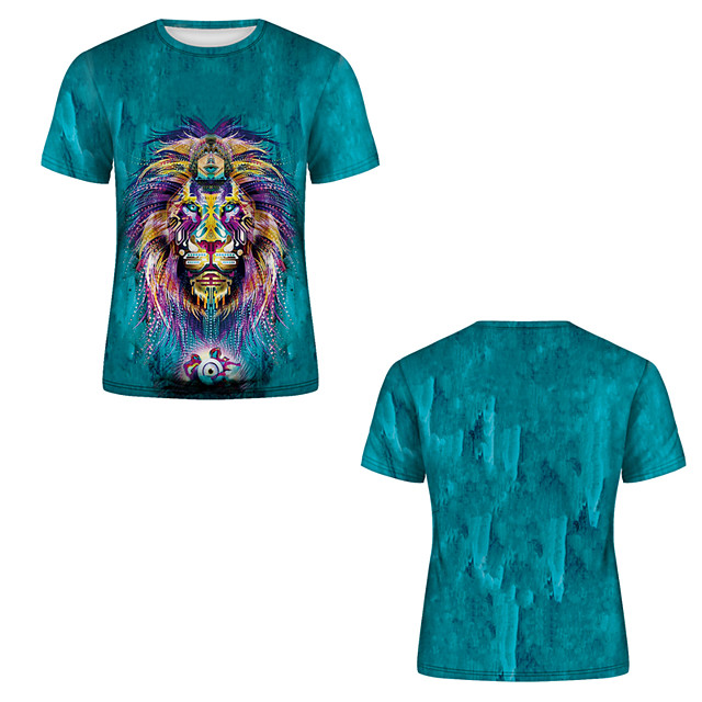 Men's T shirt 3D Print 3D Rivet Mesh Short Sleeve Casual Tops Blue-Green