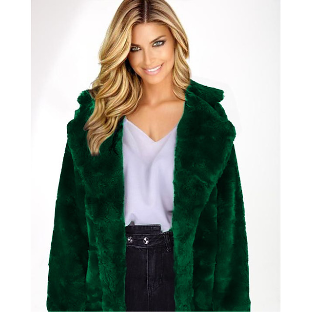 Per donna Cappotto di pelliccia sintetica Tinta unita Moda città Inverno Colletto alla coreana Lungo Quotidiano Manica lunga Cappotto Giallo