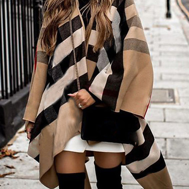 Women's Striped Fall & Winter Cloak / Capes Long Going out Sleeveless Cotton Blend Coat Tops Blue