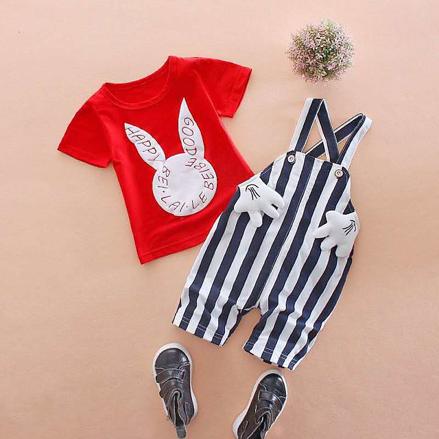 طفل صغير للفتيات مجموعة ملابس مناسب للبس اليومي مخطط طباعة كم قصير نشيط أساسي عادية أبيض أحمر