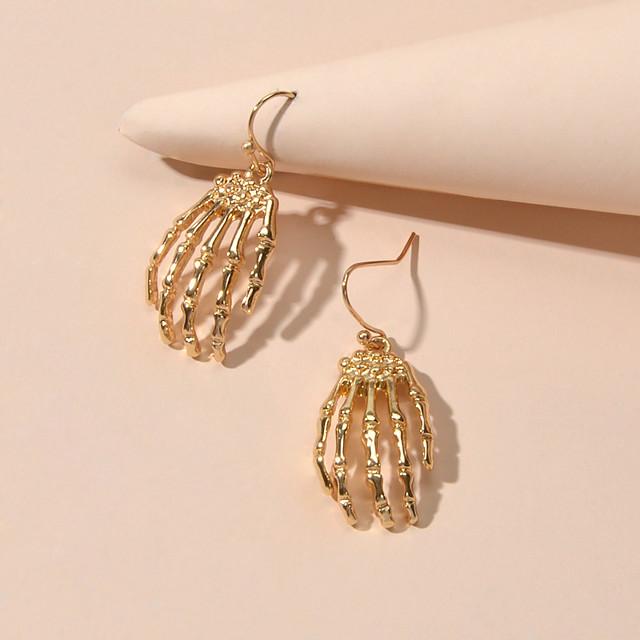 Women's Drop Earrings Geometrical Skull Gothic Steampunk Earrings Jewelry Gold For Halloween Street