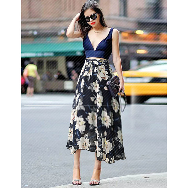 Women's Birthday Party Going out Elegant Streetwear Skirts Floral Drawstring Chiffon Print Black Blue