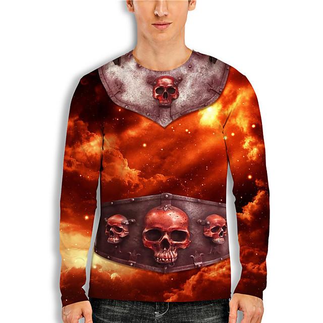 Men's T shirt 3D Print Cartoon 3D 3D Print Long Sleeve Daily Tops Casual Fashion Red