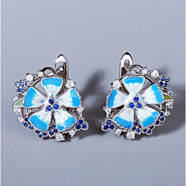 Women's AAA Cubic Zirconia Earrings Monogram Petal Elegant Romantic Sweet Earrings Jewelry Silver For Party Evening Gift Date 1 Pair