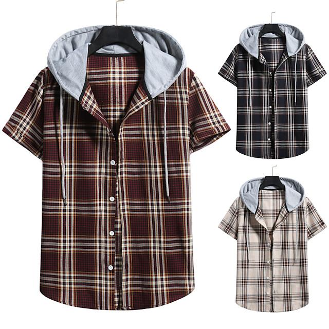 Men's Shirt non-printing Lattice Color Block Plus Size Drawstring Short Sleeve Daily Tops Vintage Streetwear Black Wine Khaki